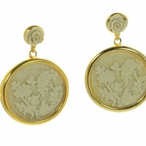 Oscar de la Renta Gold-tone Carved Earrings - Post